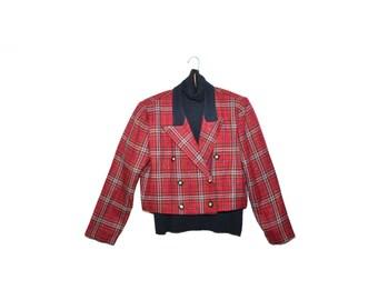 Vintage Plaid Cropped Jacket Plaid Blazer Plaid Cropped Blazer Jacket 80s Plaid Jacket with Shirt Set Size 10P