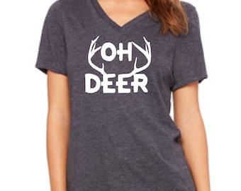 Christmas shirt, OH DEER shirt, deer Christmas shirt, womens Christmas party shirt, womens holiday shirt