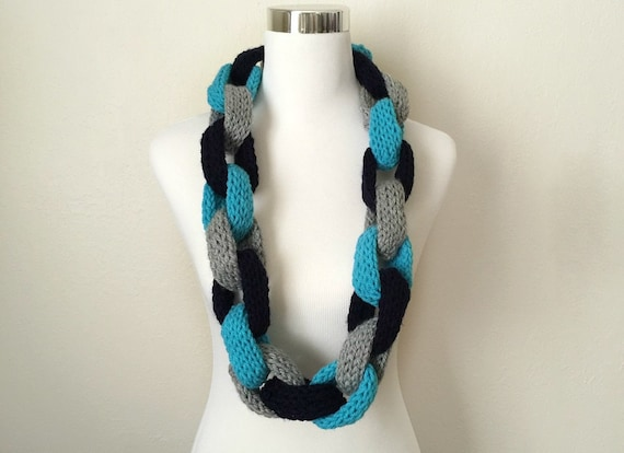 Knitted Chain Scarf Hand Knitted Infinity Chain Scarf Navy