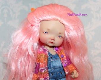Angora Mohair wig for IRREALDOLL Engendrito (Ino, Enyo, Dryo, Ery, Mai) ~ Gorgeous Pink Grapefruit silky shiny hair