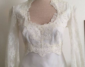 EDWARDIAN REVIVAL Vintage Ivory Pearl Bead Net Lace Empire Wedding Gown Bridal Dress Crystal Pleat Chapel Train Queen Anne Victorian Gothic