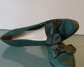 Salvatore Ferragamo Made in Italy Forest Green Ballet Flats Size 8.5AA