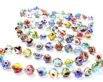 Art Deco Venetian Glass Millefiori Multi-Coloured Hand Knotted Long Italian Murano Glass Beads Vintage Necklace (c1930s) FREE SHIPPING