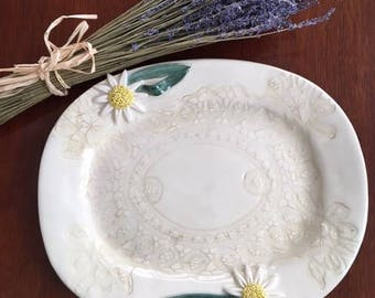 Ceramic Serving Platter With Daisy's And A Lace Design Handmade
