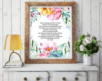 Inspirational Quote Print - Office Decor - Dorm Decor - Motivational Quote Print - Floral Digital Download PDF - Printable Quote Art