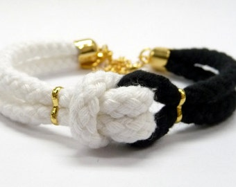 knot bracelet, cotton rope bracelet, statement bracelet, nautical jewelry, teal bracelet, nautical rope bracelet