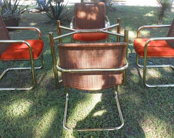 Vintage Brass Cantilever Chair Dining Set Table and 4 Chairs Chromecraft MCM Wicker Rattan Tubular Brass Modern Design 1975