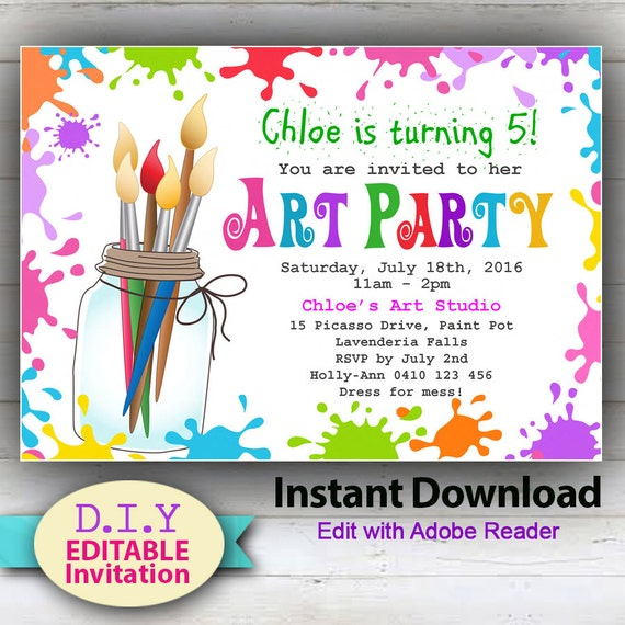 EDITABLE Art Party INSTANT DOWNLOAD Invitation
