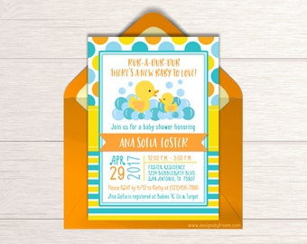 Duck Theme Baby Shower Invitation - Printable Rubber Ducky Invite - Rub A Dub Dub - Baby Sprinkle - Gender Neutral - Baby Shower Idea - BS43