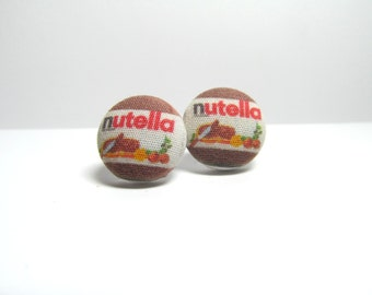 MEGA SALE MINI Nutella Fabric Button Earrings