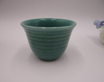 Vintage 1930s Bauer Pottery Ring Ware Jade Green Custard Cup