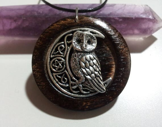 Owl and Pentacle Moon Pendant in Burnt Oak, owl and moon jewelry, wiccan jewelry, owl and moon, rustic jewelry, reclaimed wood,Free Shipping