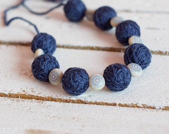 Blue long necklace beads of a thread cotton summer textile boho