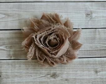 Tan shabby chic rosette hair clip beige frayed chiffon flower clip
