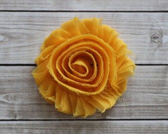 Sunshine yellow shabby chic rosette hair clip yellow gold frayed chiffon flower clip