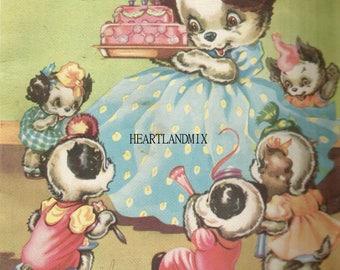 Vintage Happy Birthday Greeting Card Image Download Printable Puppies Birthday Cake
