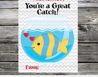 Instant Download, Printable Valentine Card, You're a Great Catch, Goldfish Valentine Favors, Valentine Non Candy Treats, Fish Valentine Card