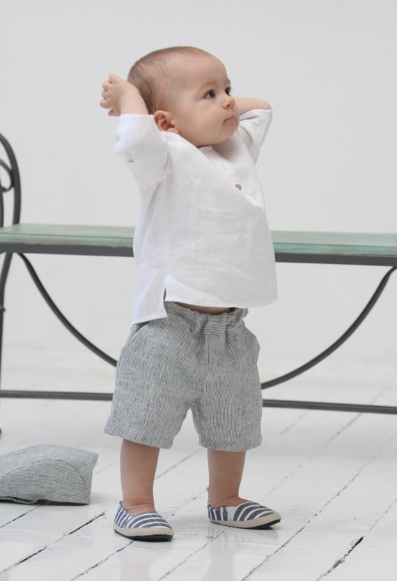 Nothing says summer chic better than these crisp baby boy white linen shorts. Your little man is sure to get compliments in these smart linen boys shorts. Boys linen shorts are a definite wardrobe staple that add an edge of class and style when paired with a short sleeved shirt.