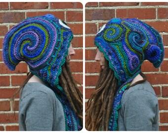 Baloo Third Eye Freeform Crochet Hood // Ooak Fiber Art Scarf