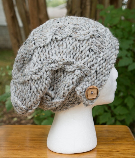 Cable Knit Slouchy Hat in Grey Marble