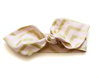 SALE || Cotton Headwrap || Chevron Blush and Gold || Cotton Baby & Toddler Headwrap