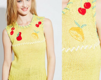 Vintage 70's Novelty Retro Fruit Knit  | Cherry | Strawberry | Lemon | Cotton | Small
