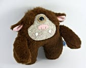 Young Brown Cyclops, fantasy creature, handmade soft art toy
