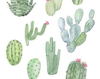 Cactus Love - Archival watercolor art print