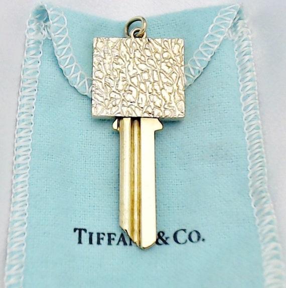 TIFFANY... Vintage 14K Yellow Gold and Brass Key Pendant - Uncut...RARE ~