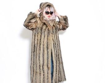 Vintage 50s Hooded Long Coyote Fur Coat