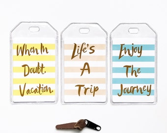 Luggage Tag, Modern Travel Accessories, Enjoy The Journey, When In Doubt Vacation, Quotes, Life's A Trip Sayings