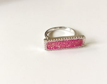 Silver pink druzy crystals square ring- Pink glitter ring- Pink gemstone ring size 7- Gift for her