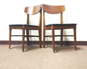 Danish Modern Chairs ~ Pair Vintage Chairs ~  Mid Century Modern Walnut Chairs ~ Liberty Chair Co