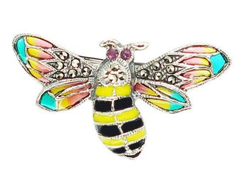 Art Nouveau 925 Sterling Silver Plique a jour french enamel bumble bee brooch pin natural red ruby marcasite