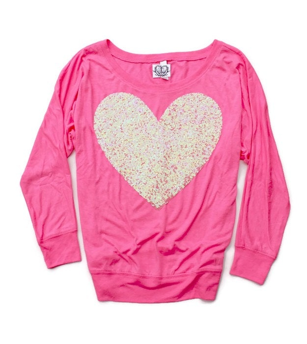 Valentines Day Shirt. Pink Heart Tee. Sequin Heart Shirt.