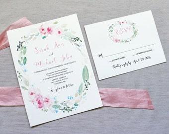 Elegant Modern Floral Wedding Invitation, Boho Garden Wedding Invitation, Floral Wedding Invitation, Summer Wedding, Blush Pink
