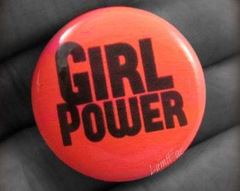 """Girl Power 1"""" Button, UV reactive"""