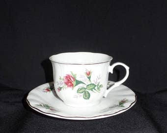 Lynns Fine China Victorian Rose  Vintage Tea Cup and Saucer