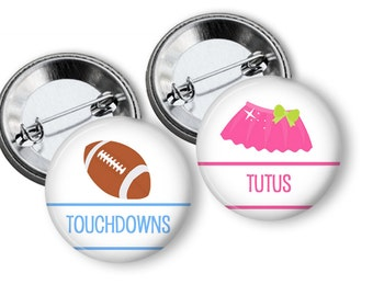 Touchdowns or Tutus Gender Reveal Party Favors 1.25 inch pinback buttons  Team Boy Team Girl Buttons Pins Badges