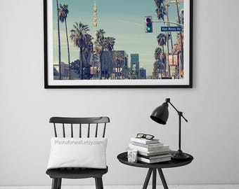 Los Angeles poster Hollywood print, California palm tree photography/large wall art/kids room art/men office decor skyline California