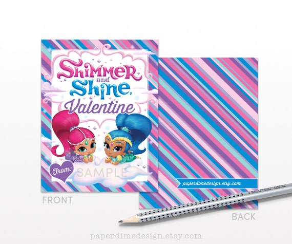 Printable Shimmer and Shine Valentine Cards: Valentine's Day Tags Gift Favor School Classroom Girl - PDF File, You Print - INSTANT DOWNLOAD