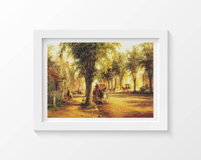 Cross Stitch Pattern PDF, Embroidery Chart, Scenery Cross Stitch, Coming Home by Edward Lamson Henry (HENRY02)