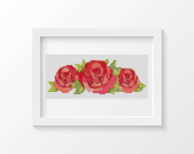 Mini Cross Stitch Kit, Embroidery Kit, Art Cross Stitch, A Trio of Red Roses (TAS126)