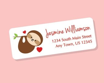 Sloth Valentine Label, Valentine Gift Tag Sticker, Sloth Address Label, Animal Valentines, Animal Return Address Labels, 60 Labels