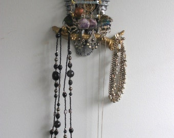 Steampunk Owl Jewellery Art Storage & Organization.  Home and Living Wall Decor, Sculpture, Necklace, Earring Hanger
