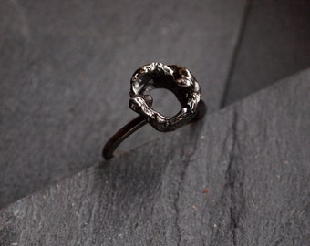 Oxidized sterling silver ring, Freeform ring, Rough rustic jewelry, One of a kind ring