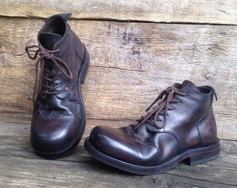 Handmade leather boots DARK BROWN