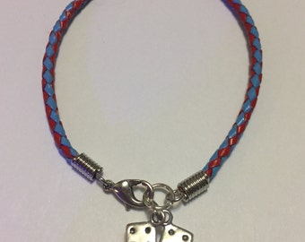 Roll the Dice Braided Leather Charm Bracelet