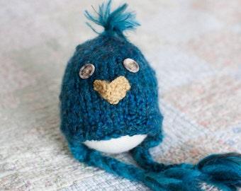 Blue Bird Hat, Newborn Baby Bird Hat, Baby Bird Earflap Hat, Newborn Owl Hat
