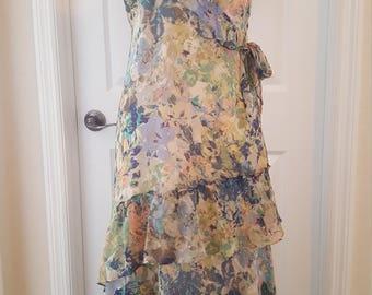 Vintage Silk Chiffon Blue Floral Tiered Dress